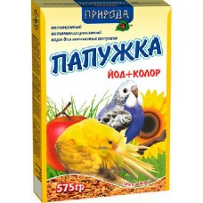"""Корм """"Природа"""" «Папужка йод + колор» для волнистых попугаев, 575гр"""