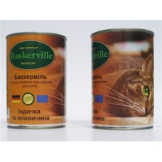 Baskerville конс для котов 400г индейка и говядина