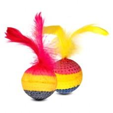 """Мяч """"зефирный радужный с пером 4 см"""