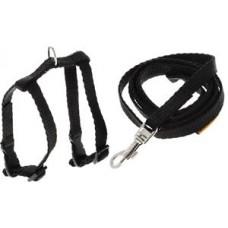 """07011 Шлея """"Dog Exstreme"""" нейлоновая регулируемая с поводком для морских свинок, декоративных крыс (шир.10мм, А: 12-22см) черная"""