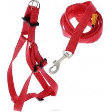 """07033 Шлея """"Dog Exstreme"""" нейлоновая регулируемая с поводком (шир.15мм, А: 40-55см) красная"""