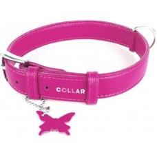 """33047 Ошейник """"Colllar GLAMOUR"""" без украшения (шир25мм,длина 38-розовый"""