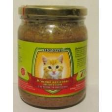 Мясной деликатес СТЕКЛО для котов 500г ПРЕМИУМ мясо-овощи