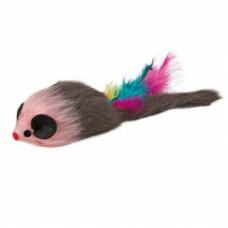 Мышка мех с пером 9 см