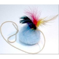 Мячик с перьями на резинке