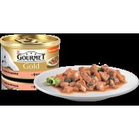 """Gourmet Gold """"Кусочки в подливке с форелью и овощами"""", консервированный корм для котов, 85гр"""