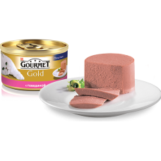 """Gourmet Gold """"Паштет с говядиной"""", консервированный корм для котов, 85гр"""