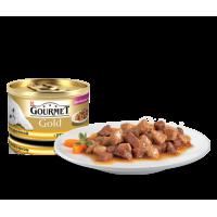 """Gourmet Gold """"Кусочки в подливке """"Двойное удовольствие"""" с уткой и индейкой"""", консервированный корм для котов, 85гр"""