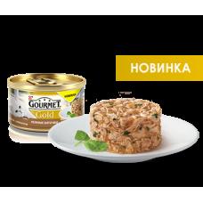 """Gourmet Gold """"Нежные биточки  с индейкой и шпинатом"""", консервированный корм для котов, 85гр"""