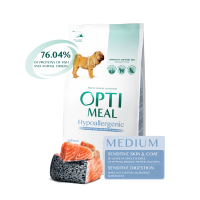 Optimeal сухой корм для собак средних пород гипоаллергенный с лососем, 12кг.