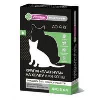 "Vitomax Капли ""Платинум"" противогельминтные холку для кошек (до 4 кг) 0,5 мл / 4 флакона в.уп. / 10 шт ящ."