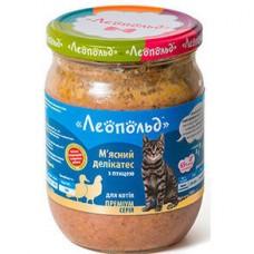 Влажный корм Леопольд Мясные деликатесы с мясом птицы 500г