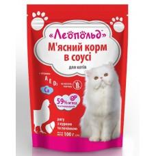 Паучи для котов Леопольд  рагу с курицей и печенью, 100 г