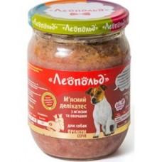"""Консервы """"Леопольд"""" Мясные деликатесы с мясом и овощами для собак 500 г"""