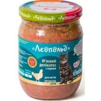 Влажный корм для кошек Леопольд Мясные деликатесы с курицей 500 г