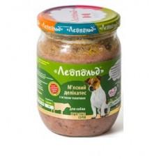 """Консервы """"Леопольд"""" Мясные деликатесы с мясом телятины для собак 500 г"""