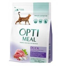 Optimeal сухой корм для котов с эффектом выведения шерсти с уткой, 300гр.