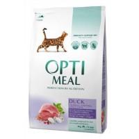 Optimeal сухой корм для котов с эффектом выведения шерсти с уткой, 4кг