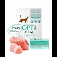 Optimeal консервированный корм для стерилизованных котов с индейкой и куриным филе в соусе, 85гр.