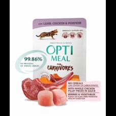 Optimeal консервированный корм для котов беззерновой с ягнятиной и куриным филе в тыквенном желе, 85гр.