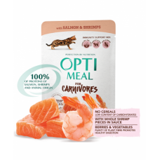 Optimeal консервированный корм для котов беззерновой с лососем и креветками, 85гр.
