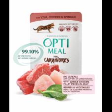 Optimeal консервированный корм для котов беззерновой с телятиной, куриным филе и шпинатом, 85гр.