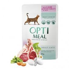 Optimeal консервированный корм для котов с ягненком и овощами в желе, 85гр.