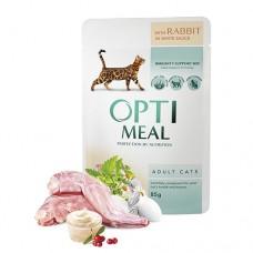 Optimeal консервированный корм для котов с кроликом в белом соусе, 85гр.