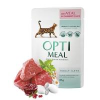 Optimeal консервированный корм для котов с телятиной в клюквенном соусе, 85гр.