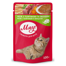 """Мяу"" консервированный корм для котов ""Желе с птицей"", 80гр."