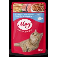 """""""Мяу"""" консервированный корм для котов """"С рыбой в нежном соусе"""", 100гр."""