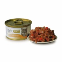 Brit Care Cat k 80g  тунец, морковь и горох