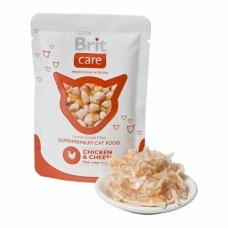 Brit Care Cat pouch 80g  курица и сыр
