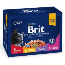 Brit Premium Cat pouch 1200 g семейная тарелка ассорти 4 вкуса