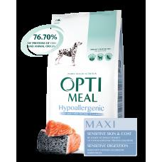 Optimeal сухой корм для собак крупных пород гипоаллергенный с лососем, 12кг.