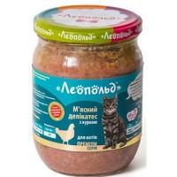 Леопольд Мясной деликатес СТЕКЛО для котов 500г ПРЕМИУМ курица