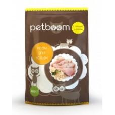 Белкорм Petboom (Петбум) с птицей и рисом для взрослых  котов, мешок 10кг