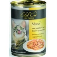 """Edel Cat """"Курица и утка"""", консервированный корм для котов  400гр"""
