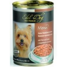 """Edel Dog """"Индейка и печень"""", консервированный корм для собак, 400гр"""