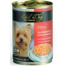 """Edel Dog """"Птица и морковь"""", консервированный корм для собак,  400гр"""